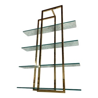 Stunning Vintage Architectural Brass Etagere in the Manner of Milo Baughman For Sale