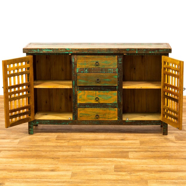 Abstract Reclaimed Wood Buffet Sideboard For Sale - Image 3 of 7