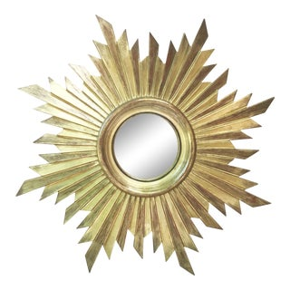 French Gilded Wood Convex Sunburst Mirror For Sale