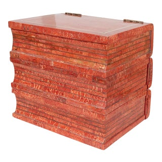 "1970s Coral Tessellated Stone ""Book"" Box For Sale"