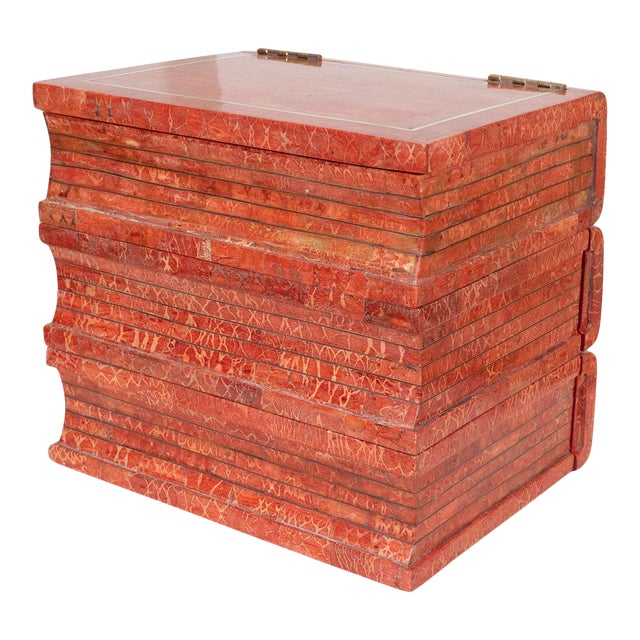 """1970s Coral Tessellated Stone """"Book"""" Box For Sale"""
