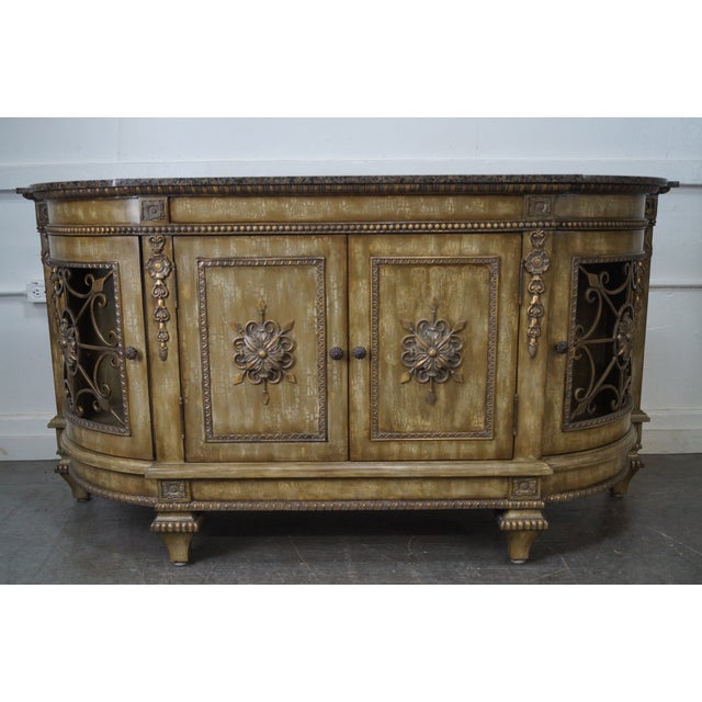 Faux Painted French Style Marble-Top Sideboard with Iron Doors - Image 2 of 10