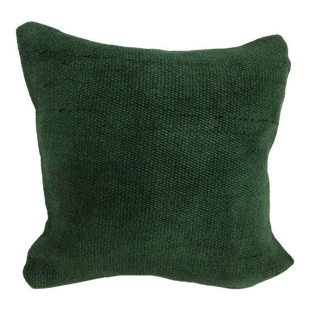 Turkish Handmade Antique Green Tribal Decorative Kilim Pillow For Sale