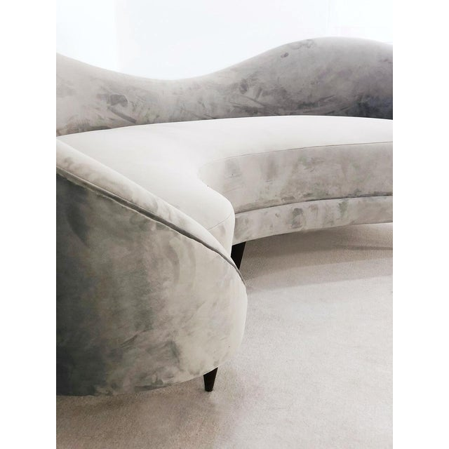 1950s Velvet Wave Sofa From the 50s For Sale - Image 5 of 6