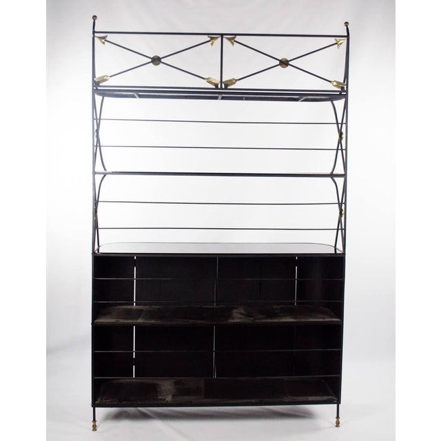 Modern Campaign Style Bakers Rack and Cabinet For Sale - Image 12 of 13