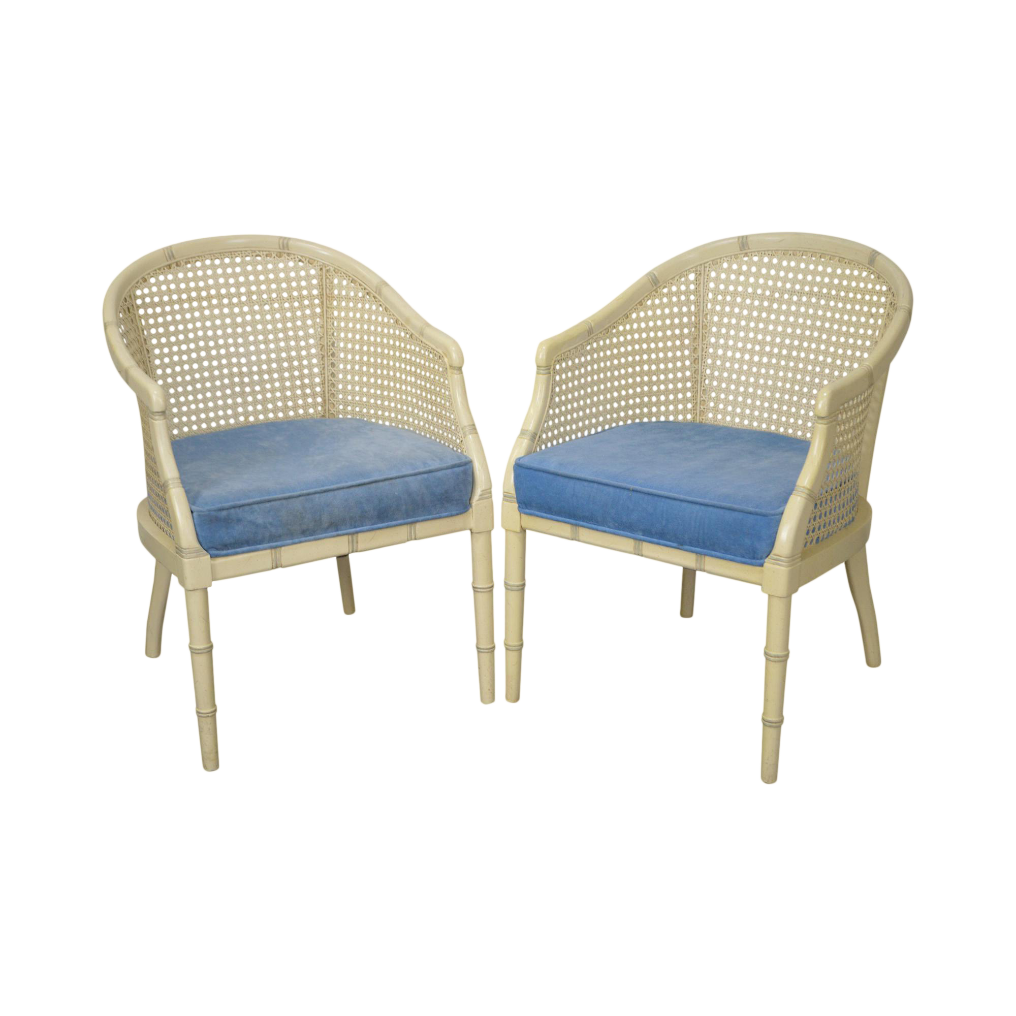 Faux Bamboo Hollywood Regency Style Painted Barrel Back U0026 Cane Club Chairs   A Pair Regency Style Furniture 328
