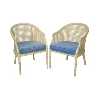 Faux Bamboo Hollywood Regency Style Painted Barrel Back & Cane Club Chairs - a Pair