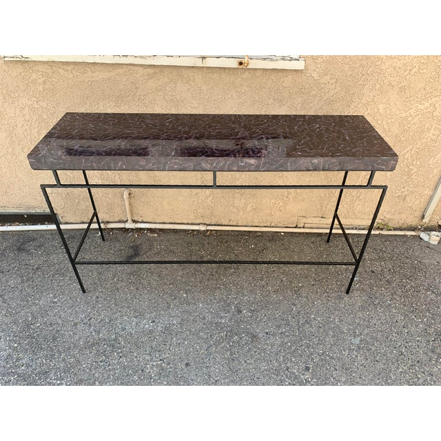 Contemporary Penshell and Iron Console Table For Sale In Los Angeles - Image 6 of 6