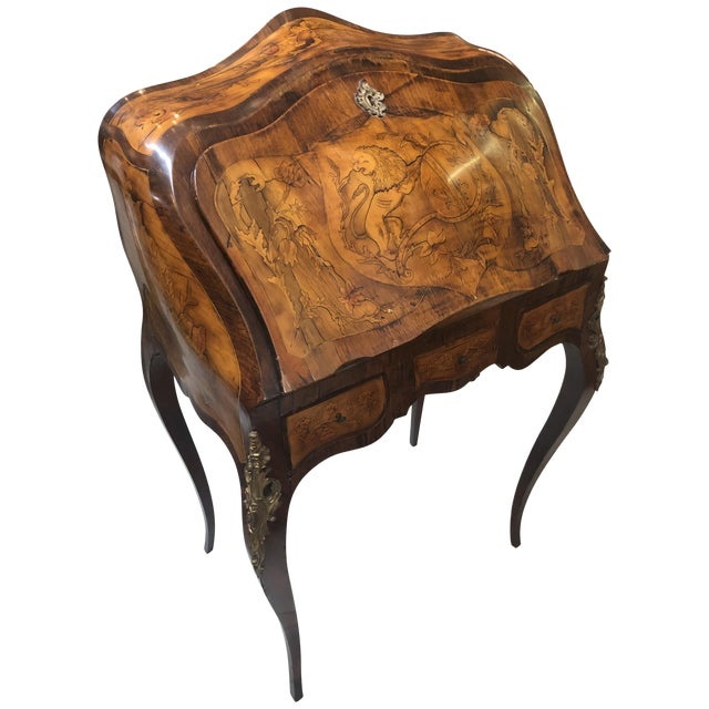 Inlay Marquetry Bombay Desk / Secretary For Sale