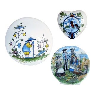 Collection of French Quimper & Dutch Delft Style Pottery, Set of 3 For Sale