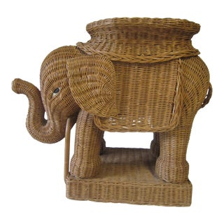 1970s WIcker Elephant End Table For Sale