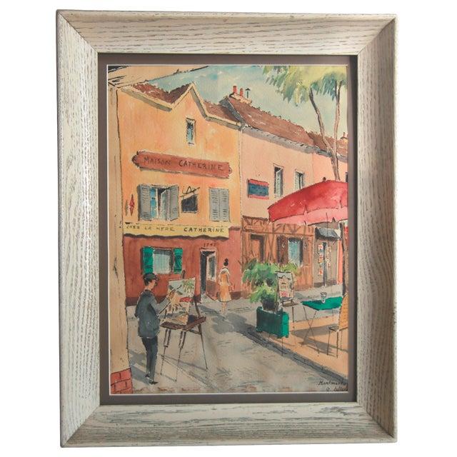 Mid-Century Paris Street Watercolor - Image 1 of 8