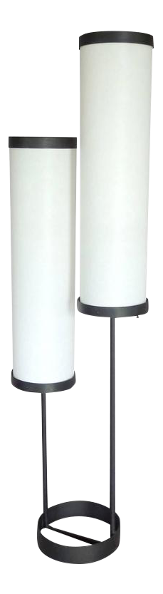 Large Ben Seibel Double Cylinder Architecturally Themed Wrought Iron Floor  Lamp   Image 1 Of 4