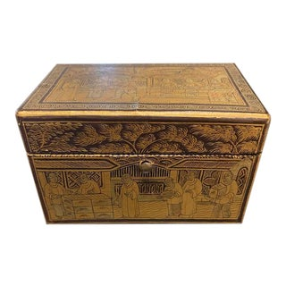 Vintage Black Lacquer Box With Gold Scenes For Sale