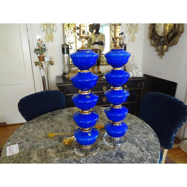 Hollywood Regency 1960s Vintage Cobalt Blue Murano Glass Lamps by Balboa - a Pair For Sale - Image 3 of 10