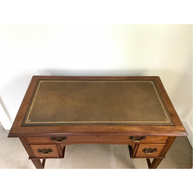 Metal Vintage Georgian Walnut Writing Table With Tooled Leather Top For Sale - Image 7 of 12