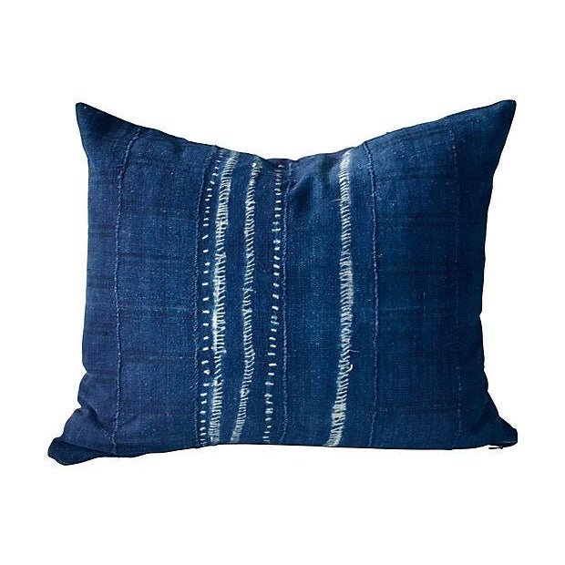 Indigo African Tie Dye Pillow - Image 1 of 3