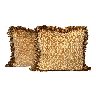 Vintage Ebanista Silk Velvet Devoré Pillows - a Pair For Sale