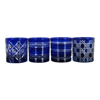 Cobalt Blue Crystal Cut to Clear Whiskey Tumbler Lowball Glasses - Set of 4 For Sale