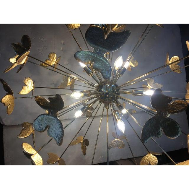 2010s 24 Karat Gold Butterfly Sputnik Chandelier For Sale - Image 5 of 10