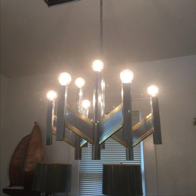 Mid-Century Modern Chrome & Brass 9-Light Chandelier by Sciolari For Sale - Image 3 of 8