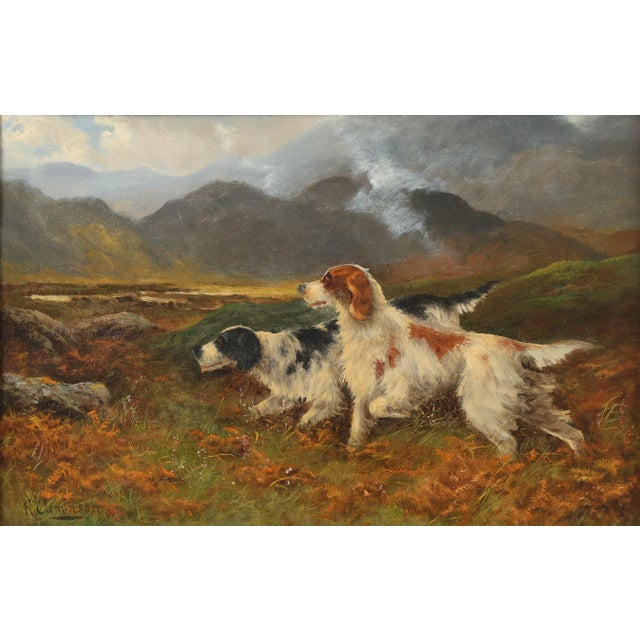 Sporting dogs oil painting on canvas by Robert Cleminson, (Active 1864-1903). Two sporting dogs on point in a Scottish...
