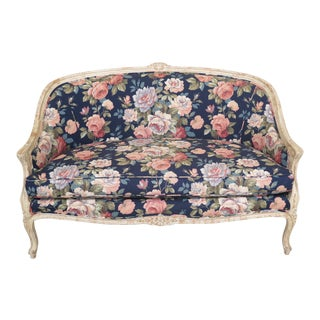 1990s Vintage French Distressed Paint Decorated Finish Floral Loveseat For Sale