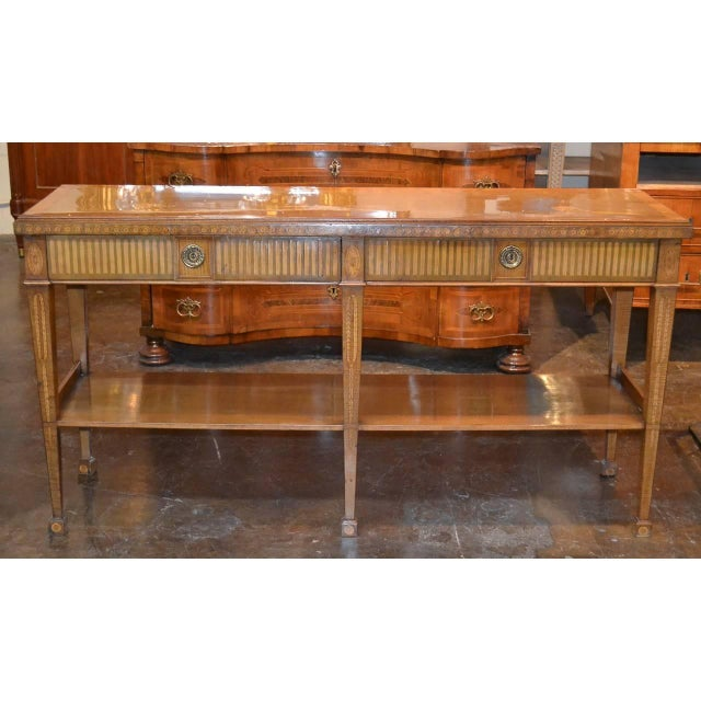 Edwardian Edwardian Marquetry Inlaid Console Table For Sale - Image 3 of 9