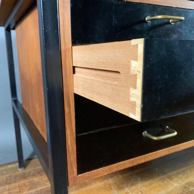Mid-Century Teak & Black Lacquer 7-Drawer Desk For Sale - Image 10 of 11