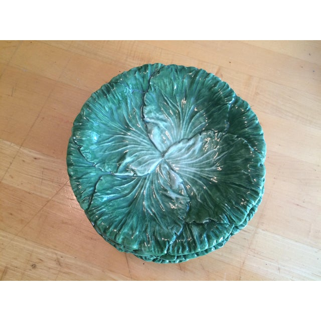 British Colonial Vietri Lettuce/Cabbage Plates, Ceramic, Green - Set of 6 For Sale - Image 3 of 8