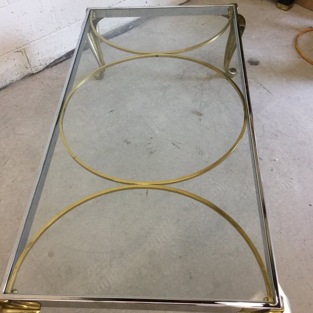 Brass, Chrome and Glass Mid Century Coffee Table - Image 8 of 10