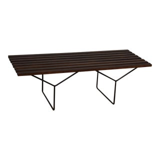 Harry Bertoia Mahogany Slatted Bench For Sale