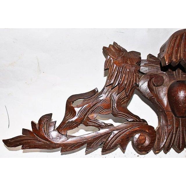 French Antique Oak Lion Cartouche - Image 5 of 8