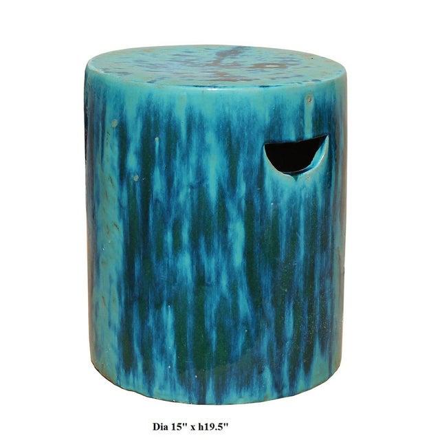 Chinese Ceramic Clay Turquoise Green Glaze Round Garden Stool Cs2841