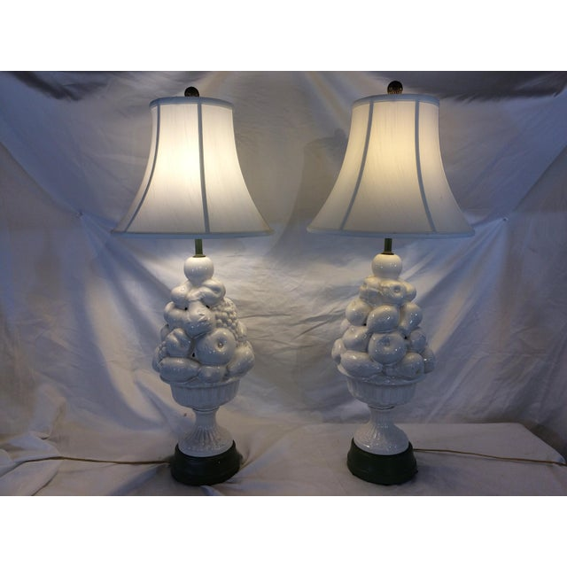 White Lamps with Fruit and Green Details - A Pair For Sale - Image 6 of 7
