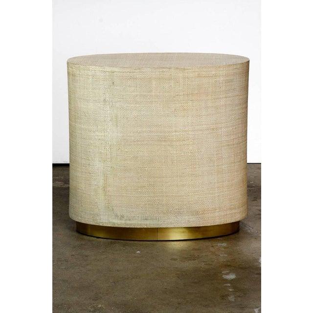 Raffia Grasscloth Clad Oval Three-Drawer Dresser Nightstand - Image 4 of 11