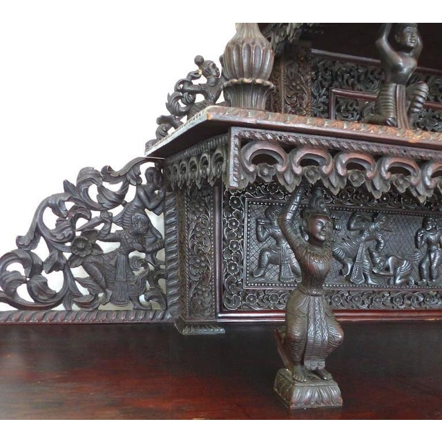 Rosewood 19th Century Burmese Over-Scale Carved Rosewood Anglo-Indian Sideboard For Sale - Image 7 of 11