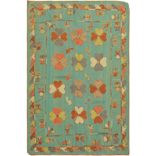 Embroidered Ikat Kilim Contrera Blue Wool Rug- 5′1″ × 7′ For Sale