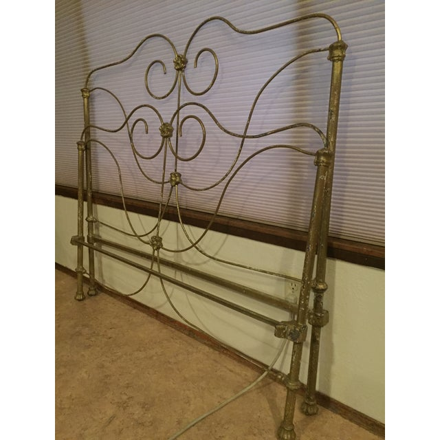 Gold Antique Victorian Full Iron Bed Headboard and Footboard - 2 Pieces For Sale - Image 8 of 8