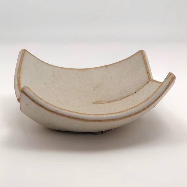 Ceramic Cream Glazed Hand-Formed Slab Pottery Bowl Signed Burke For Sale - Image 7 of 13