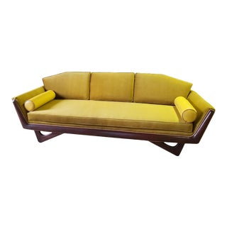 Kroehler Adrian Pearsall Style Sofa In Mustard Velvet For Sale