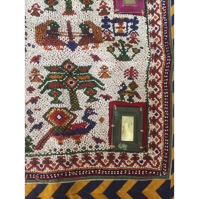 Vintage Beaded Indian Peacock Tribal Wall Hanging For Sale - Image 4 of 7
