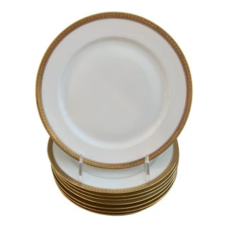 Hutschenreuther Bavaria White and Gold Porcelain Plates - Set of 8