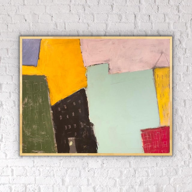 """Sarah Trundle Contemporary Abstract City-Scape Painting """"On the Block"""" For Sale - Image 6 of 7"""