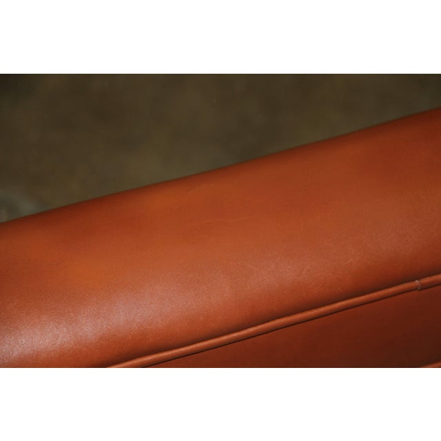 Brown Leather Wrapped Coffee Table With Glass Insert For Sale - Image 8 of 10