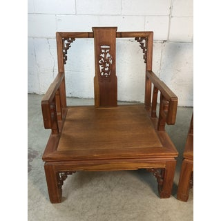 Asian Ming Style Low Carved Arm Chairs, Pair Preview