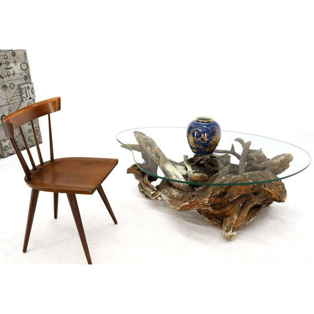 Gesso Washed and Stained Kidney Shape Glass Top Natural Driftwood Coffee Table For Sale - Image 11 of 13