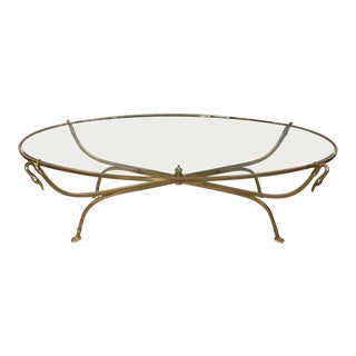 1970s Hollywood Regency Brass Swan Coffee Table For Sale