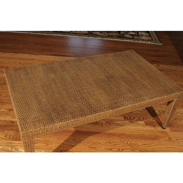 Elegant Restored Vintage Raffia Coffee Table For Sale - Image 9 of 10