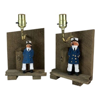 Vintage Wood Carved Sea Captain Wall Hung Lamps - a Pair